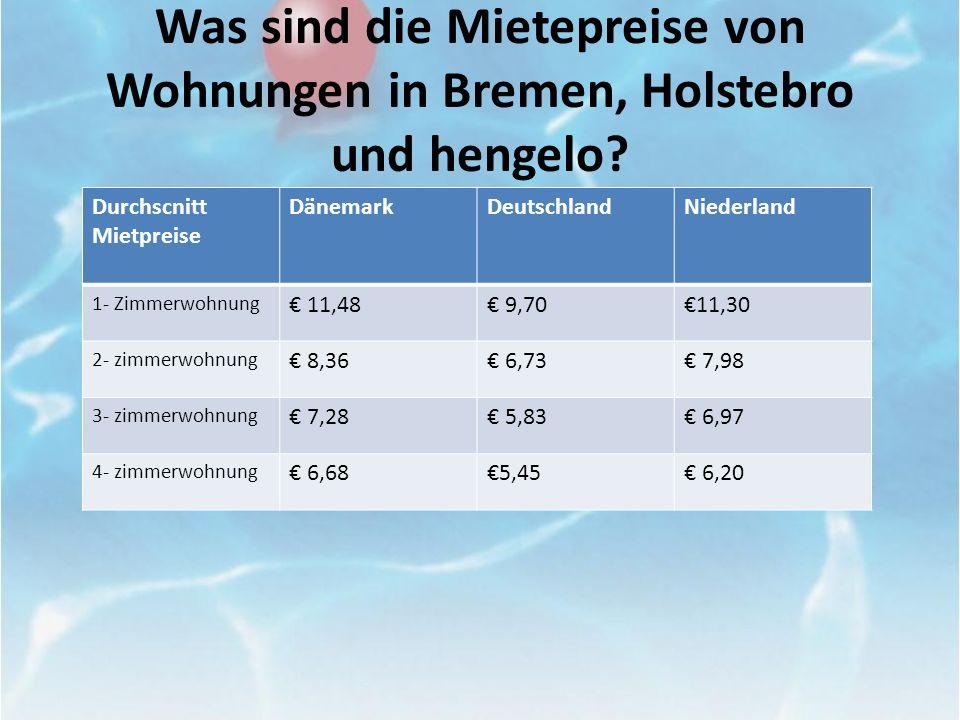 Was sind die Mietepreise von Wohnungen in Bremen, Holstebro und hengelo? Durchscnitt Mietpreise DänemarkDeutschlandNiederland 1- Zimmerwohnung 11,48 9