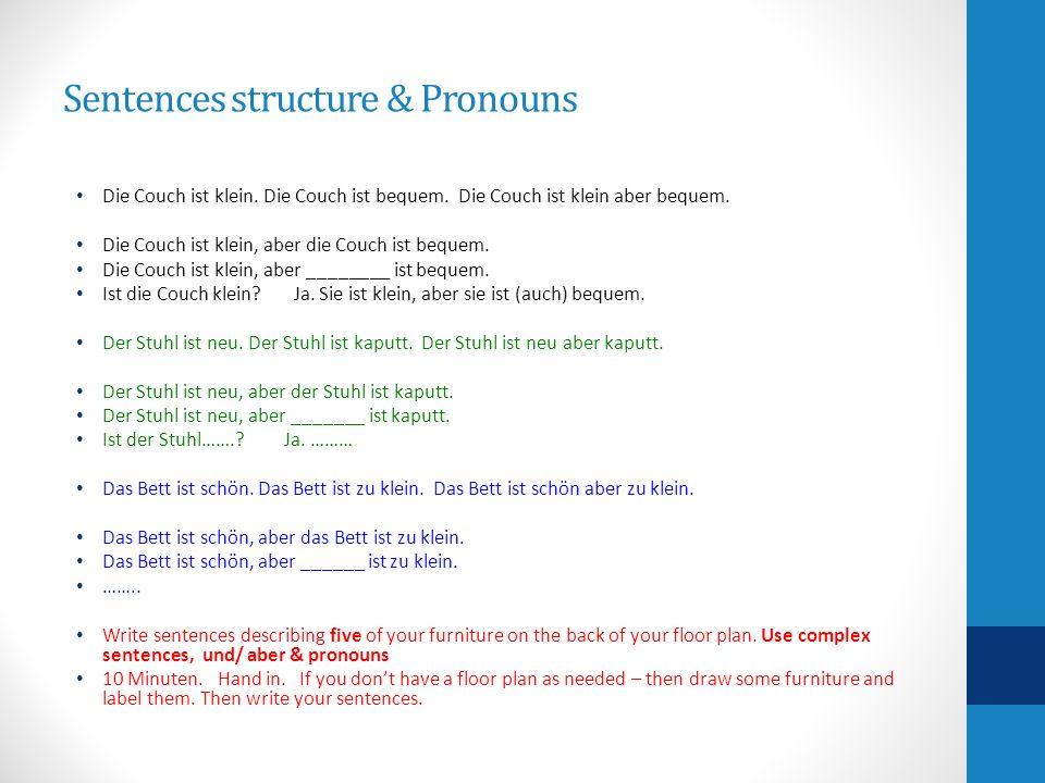 Sentences structure & Pronouns Die Couch ist klein. Die Couch ist bequem. Die Couch ist klein aber bequem. Die Couch ist klein, aber die Couch ist beq