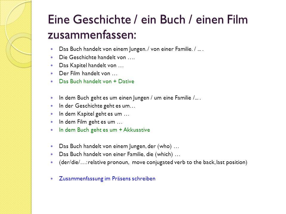 Eine Buch- / Filmrezension schreiben (Rezension – Review) Schreibe eine kurze Zusammenfassung (Präsens) Ich finde das Buch / den Film ….