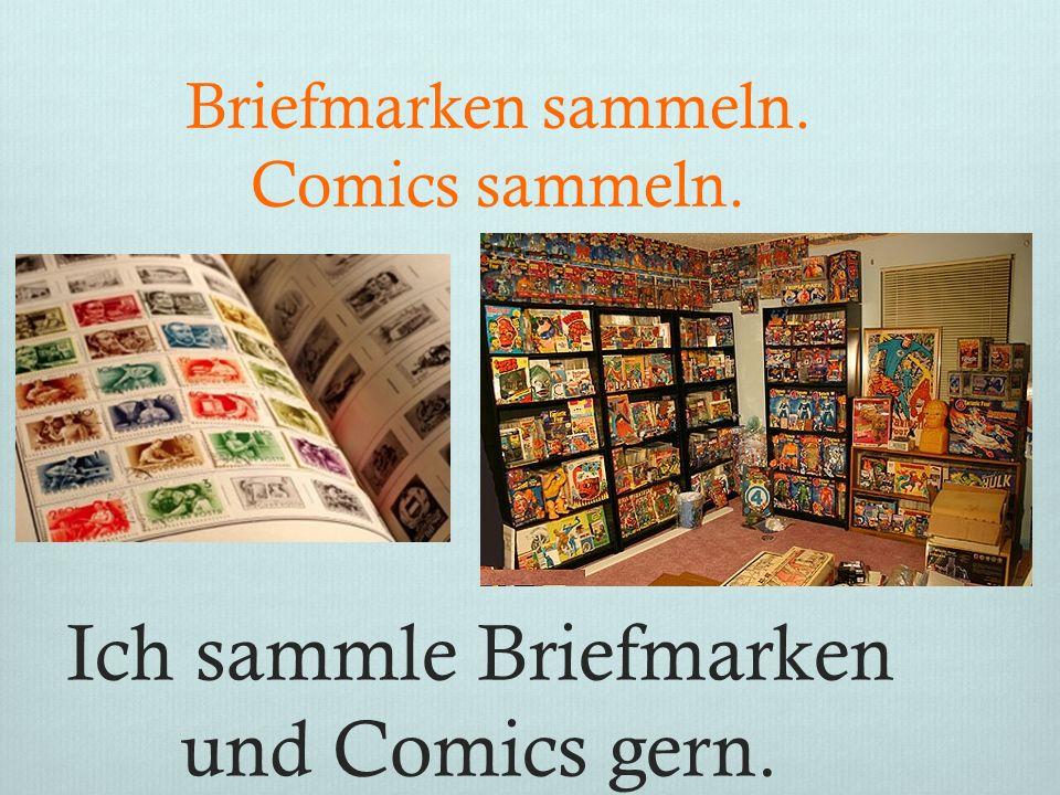 Ich sammle Briefmarken und Comics gern. Briefmarken sammeln. Comics sammeln.