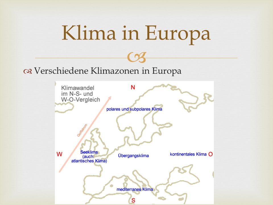 Verschiedene Klimazonen in Europa Klima in Europa