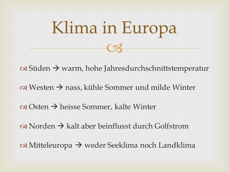 Süden warm, hohe Jahresdurchschnittstemperatur Westen nass, kühle Sommer und milde Winter Osten heisse Sommer, kalte Winter Norden kalt aber beinflusst durch Golfstrom Mitteleuropa weder Seeklima noch Landklima Klima in Europa