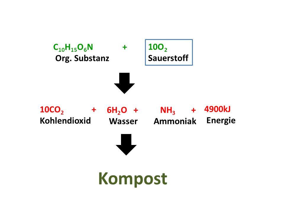 C 10 H 15 O 6 N + Org. Substanz 10O 2 Sauerstoff 10CO 2 + Kohlendioxid 6H 2 O + Wasser 4900kJ Energie NH 3 + Ammoniak Kompost