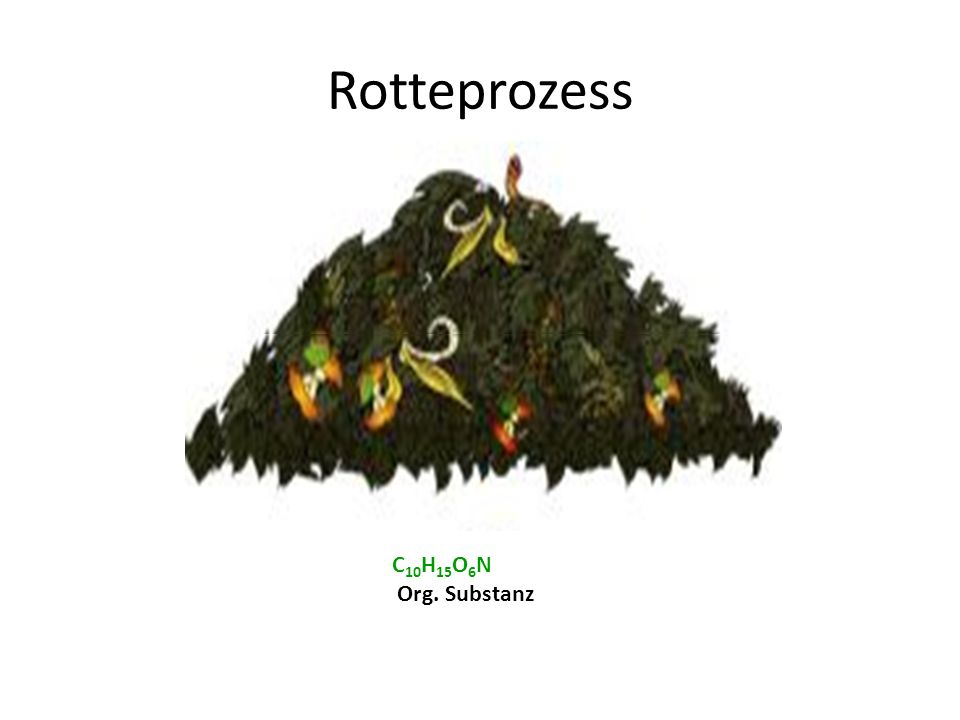 10 CO 2 Kohlendioxid CO 2 O2O2 C 10 H 15 O 6 N Org. Substanz Rotteprozess 10O 2 + Sauerstoff