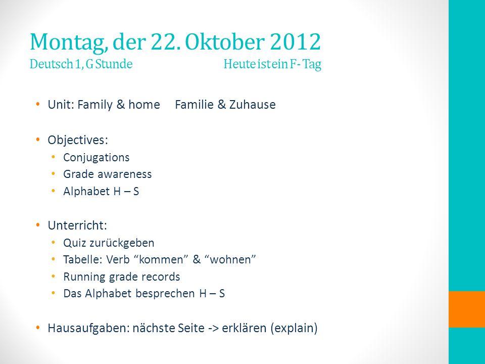 Montag, der 22. Oktober 2012 Deutsch 1, G Stunde Heute ist ein F- Tag Unit: Family & homeFamilie & Zuhause Objectives: Conjugations Grade awareness Al