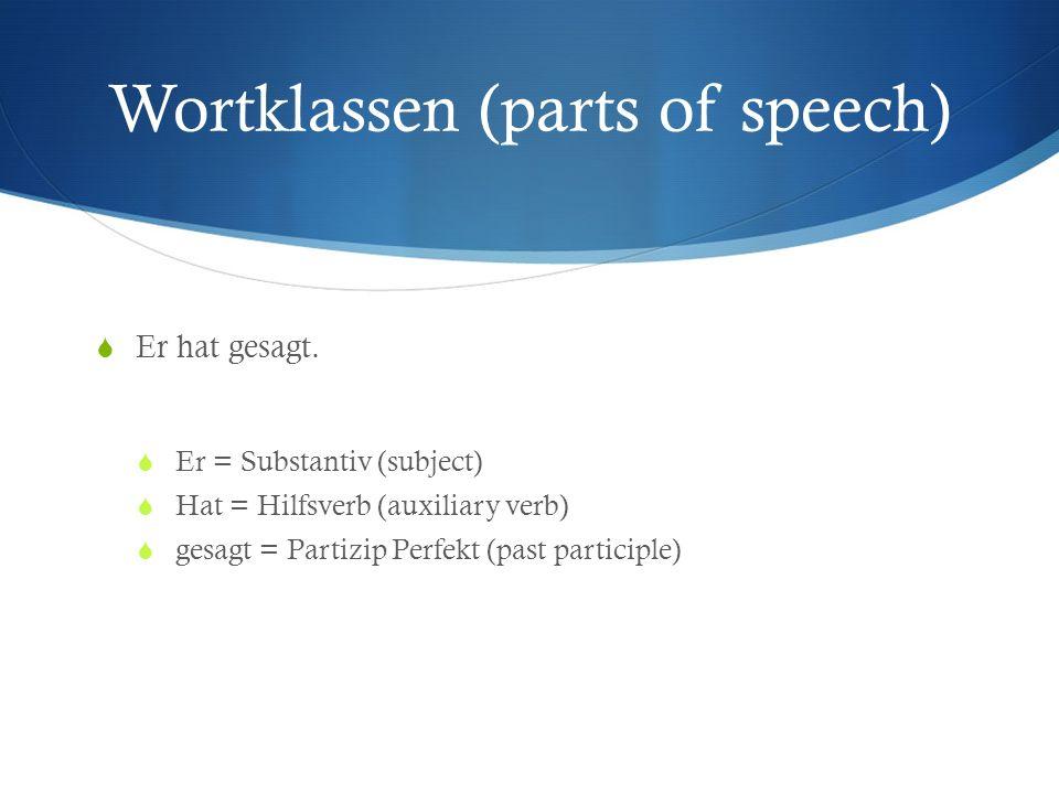 Wortklassen (parts of speech) Er hat gesagt. Er = Substantiv (subject) Hat = Hilfsverb (auxiliary verb) gesagt = Partizip Perfekt (past participle)