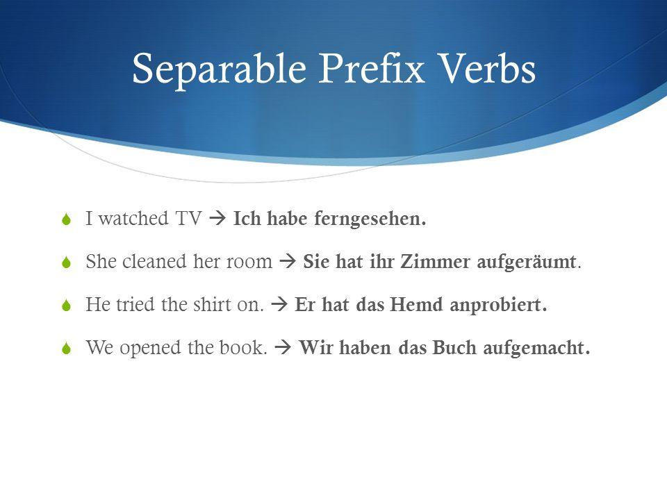Separable Prefix Verbs I watched TV Ich habe ferngesehen. She cleaned her room Sie hat ihr Zimmer aufgeräumt. He tried the shirt on. Er hat das Hemd a