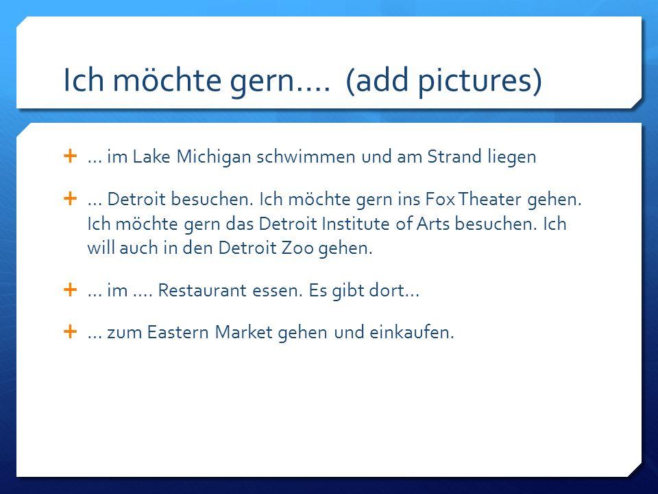 eine Postkarte (add a picture) Liebe Petra.Viele Grüße aus Detroit.