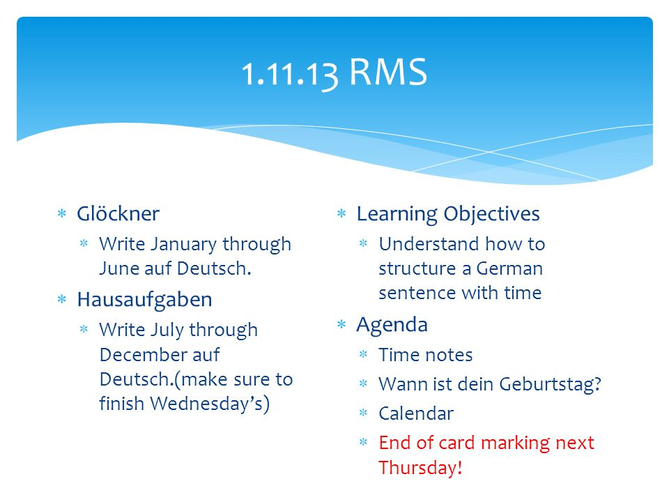 RMS Glöckner Write January through June auf Deutsch.