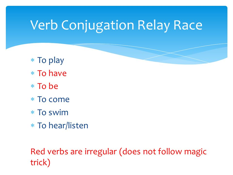 Verb Conjugation Relay Race To play To have To be To come To swim To hear/listen Red verbs are irregular (does not follow magic trick)