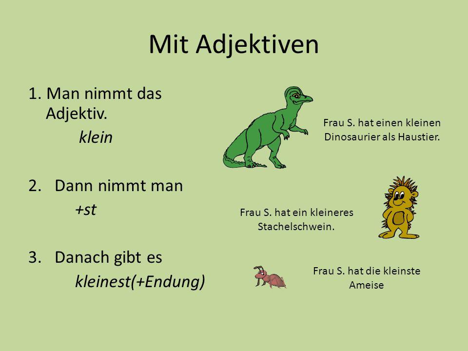 Mit Adjektiven 1. Man nimmt das Adjektiv. klein 2.Dann nimmt man +st 3.Danach gibt es kleinest(+Endung) Frau S. hat einen kleinen Dinosaurier als Haus