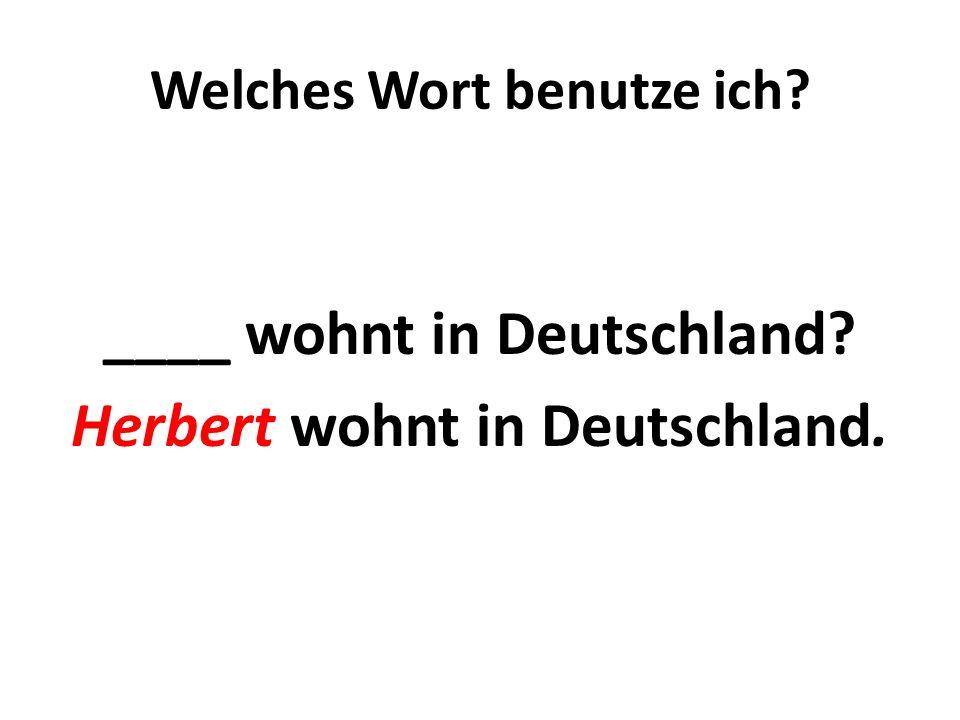 Welches Wort benutze ich? Wer wohnt in Deutschland? Herbert wohnt in Deutschland.
