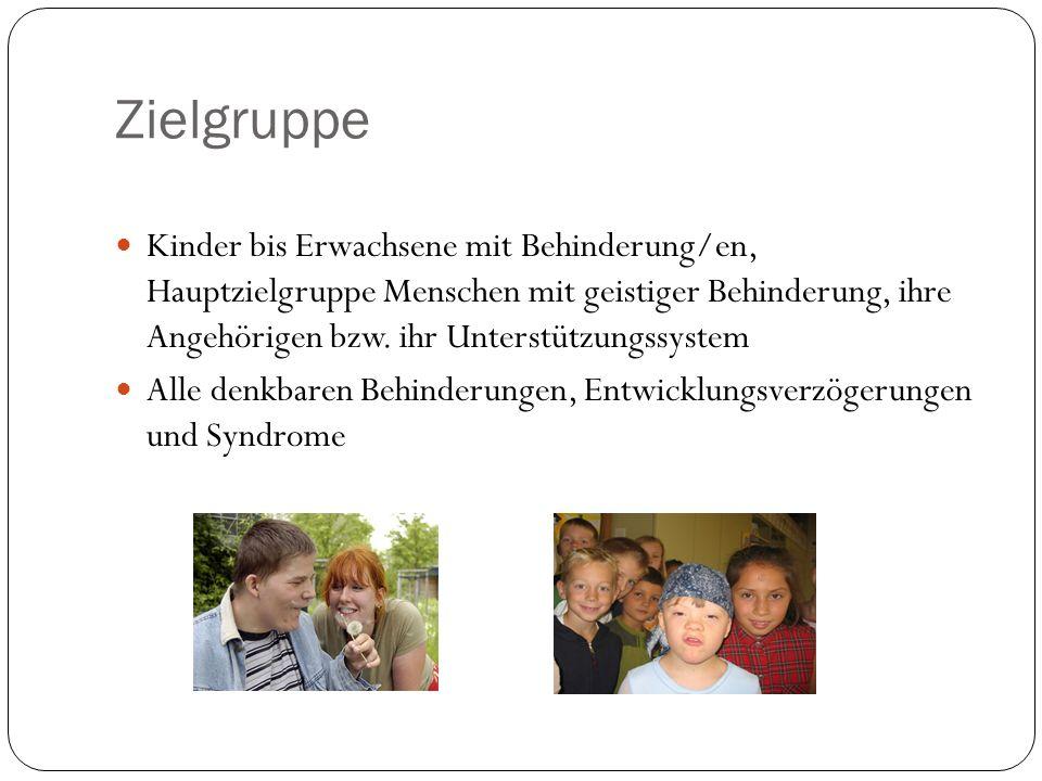 Zielgruppe Kinder bis Erwachsene mit Behinderung/en, Hauptzielgruppe Menschen mit geistiger Behinderung, ihre Angehörigen bzw. ihr Unterstützungssyste