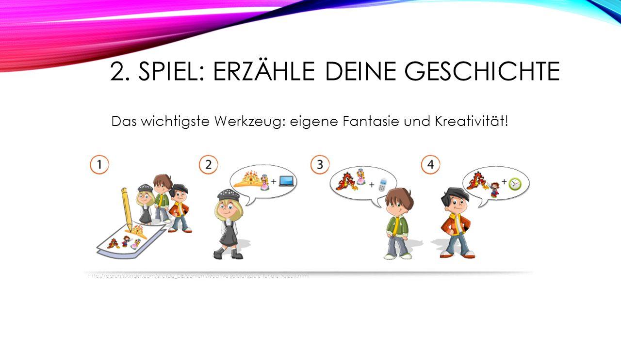 2. SPIEL: ERZÄHLE DEINE GESCHICHTE Das wichtigste Werkzeug: eigene Fantasie und Kreativität! http://parents.kinder.com/site/de_DE/content/kreative-spi