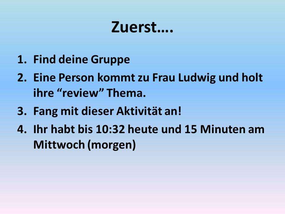 Zuerst….1.Find deine Gruppe 2.Eine Person kommt zu Frau Ludwig und holt ihre review Thema.