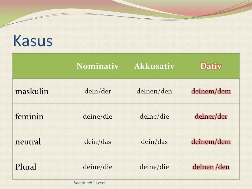 Kasus NominativAkkusativ maskulin dein/derdeinen/den feminin deine/die neutral dein/das Plural deine/die Komm mit.