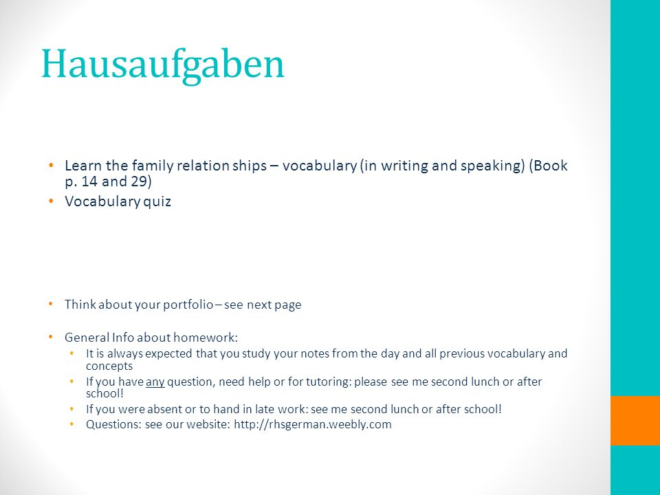 Hausaufgaben Learn the family relation ships – vocabulary (in writing and speaking) (Book p.
