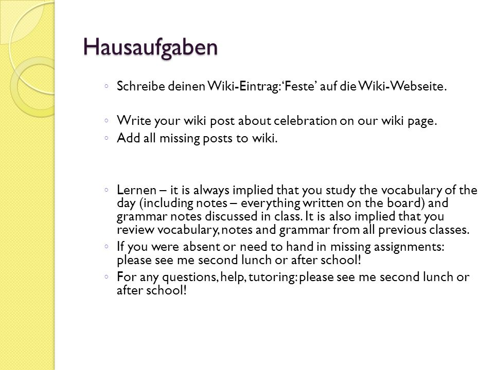 Verschiedenes (miscellaneous): Wikipost – Feste (in progress) Edmodo C hour: vnt0dv Edmodo D hour: tfhb9x