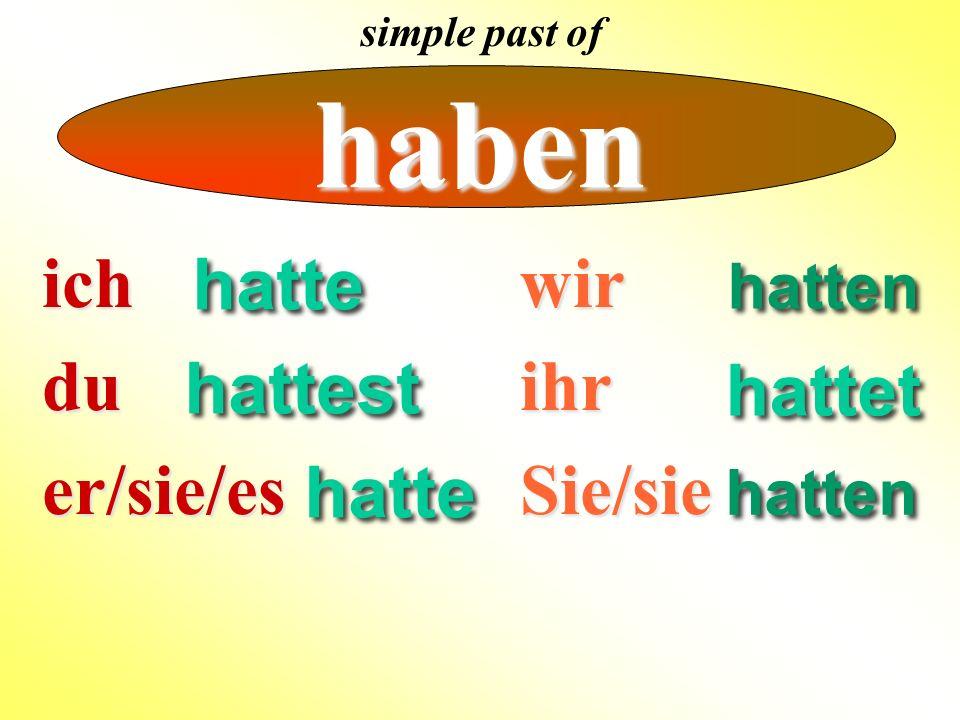 ich ich du duer/sie/es endings for simple past of strong verbs wirihrSie/sie ~~ icher/sie/es The ich and er/sie/es pronouns have no endings no endings for strong verbs in the simple past.
