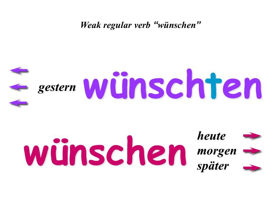 ich ich du duer/sie/es endings for simple past of weak verbs wirihrSie/sie ~te~te icher/sie/es The ich and er/sie/es pronouns have the same ending the same ending for weak verbs in the simple past.
