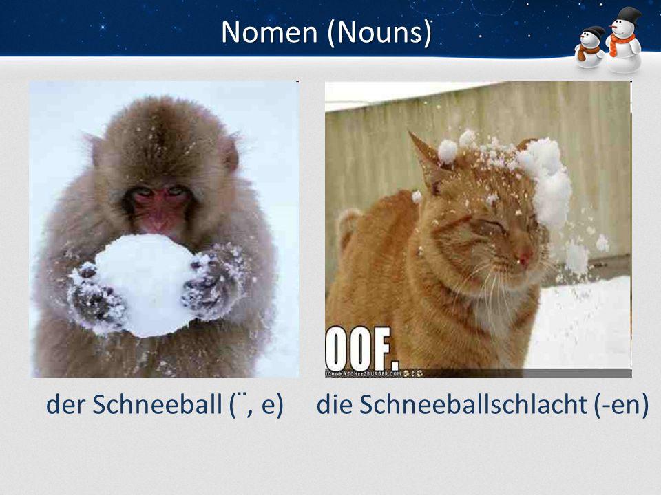 Nomen (Nouns) der Schneeball (¨, e)die Schneeballschlacht (-en)