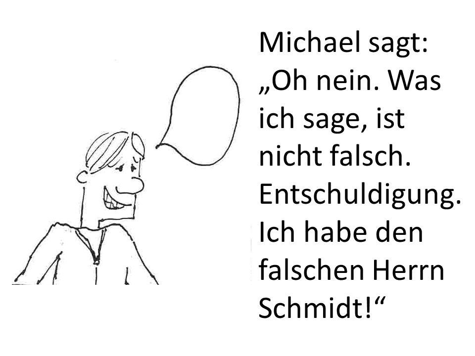 Michael sagt: Oh nein. Was ich sage, ist nicht falsch. Entschuldigung. Ich habe den falschen Herrn Schmidt!