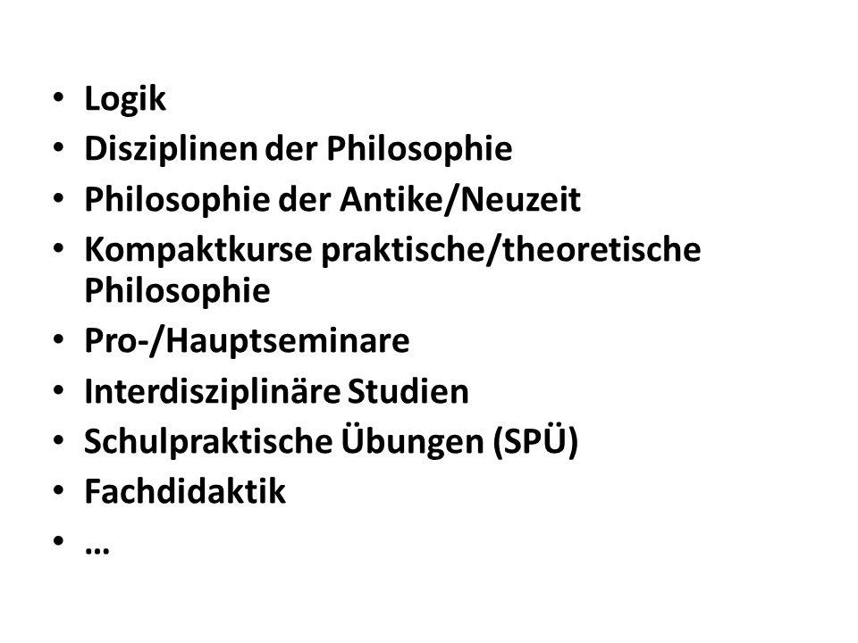 Logik Disziplinen der Philosophie Philosophie der Antike/Neuzeit Kompaktkurse praktische/theoretische Philosophie Pro-/Hauptseminare Interdisziplinäre Studien Schulpraktische Übungen (SPÜ) Fachdidaktik …