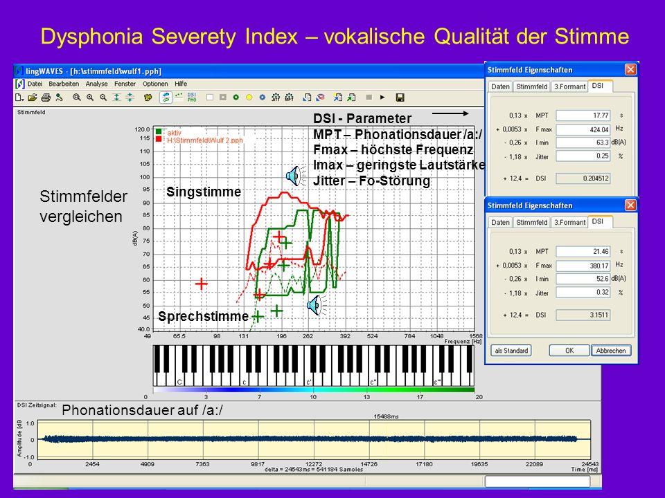 Dysphonia Severety Index – vokalische Qualität der Stimme Stimmfelder vergleichen DSI - Parameter MPT – Phonationsdauer /a:/ Fmax – höchste Frequenz I