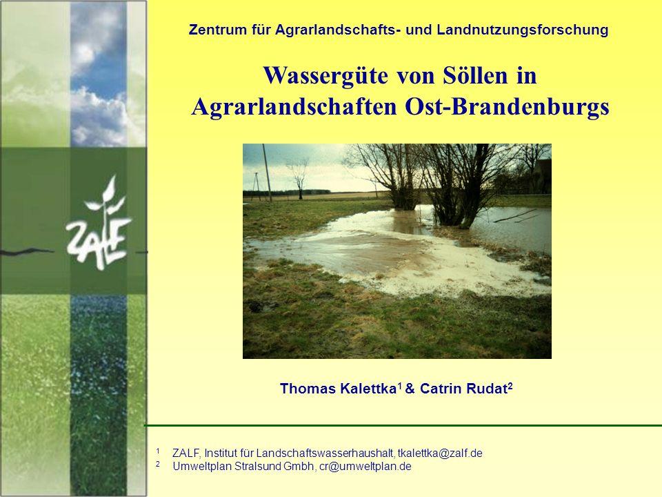 1 Wassergüte von Söllen in Agrarlandschaften Ost-Brandenburgs Zentrum für Agrarlandschafts- und Landnutzungsforschung Thomas Kalettka 1 & Catrin Rudat