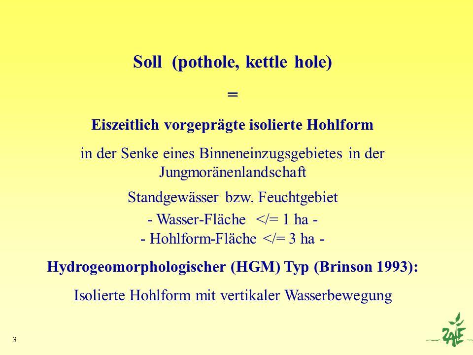 3 Soll (pothole, kettle hole) = Eiszeitlich vorgeprägte isolierte Hohlform in der Senke eines Binneneinzugsgebietes in der Jungmoränenlandschaft Stand