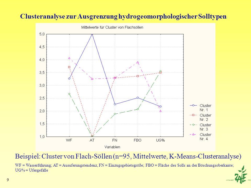 9 Clusteranalyse zur Ausgrenzung hydrogeomorphologischer Solltypen Beispiel: Cluster von Flach-Söllen (n=95, Mittelwerte, K-Means-Clusteranalyse) WF =