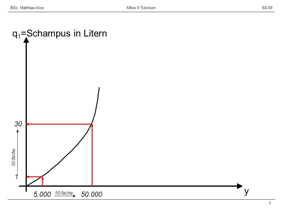 BSc. Matthias Wos Mikro II TutoriumSS 09 7 q 1 =Schampus in Litern y 5.000 1 50.000 10-fache 30 30-fache
