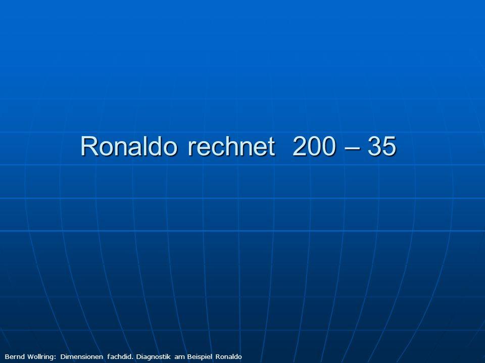 Ronaldo rechnet 200 - 35 Erster Versuch 200 – 35 = 200 Bernd Wollring: Dimensionen fachdid.