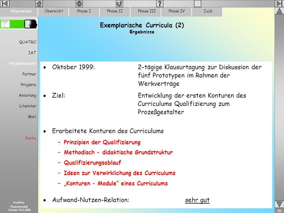 20 ProGRes Phasenmodell Version 15.8.2000 ÜbersichtPhase IPhase IIPhase IIIPhase IVI.u.K.Allgemeines Exemplarische Curricula (2) Ergebnisse Oktober 19