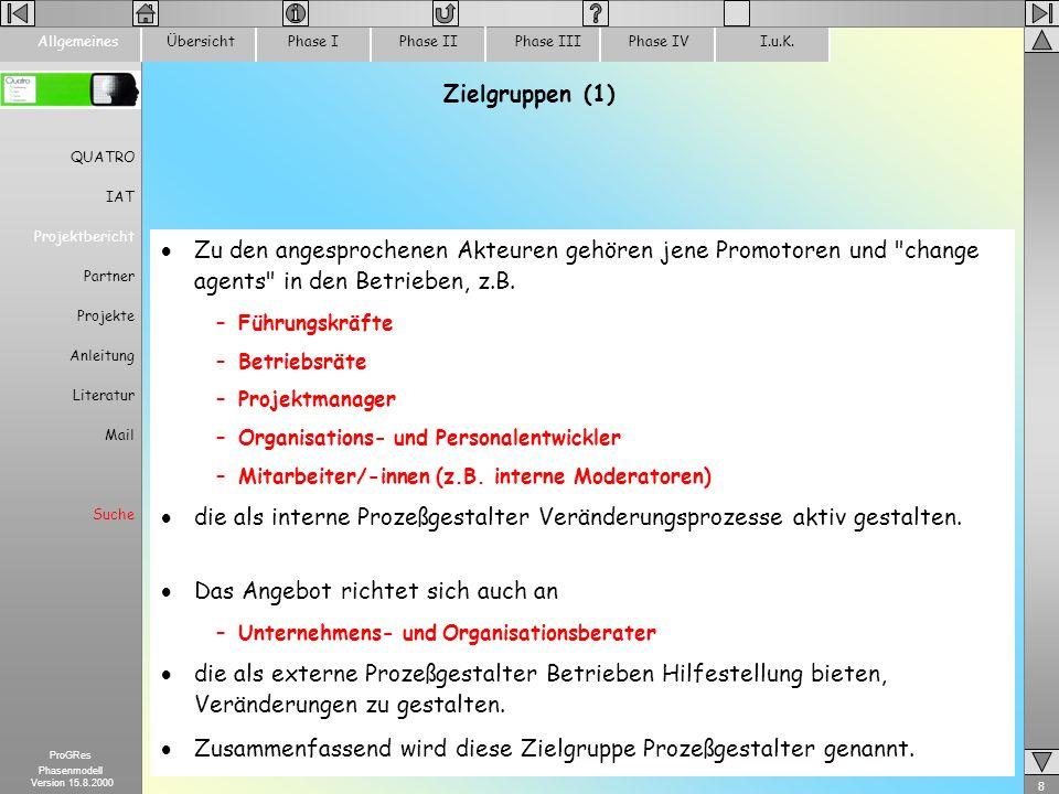 8 ProGRes Phasenmodell Version 15.8.2000 ÜbersichtPhase IPhase IIPhase IIIPhase IVI.u.K.Allgemeines Zielgruppen (1) Zu den angesprochenen Akteuren geh