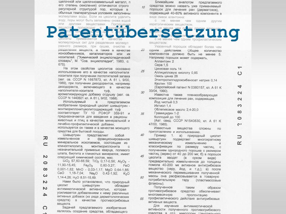 Patentübersetzung