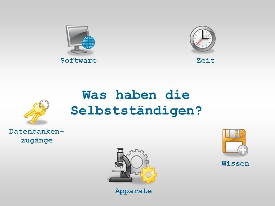 Was haben die Selbstständigen ZeitWissen Apparate Datenbanken- zugänge Software