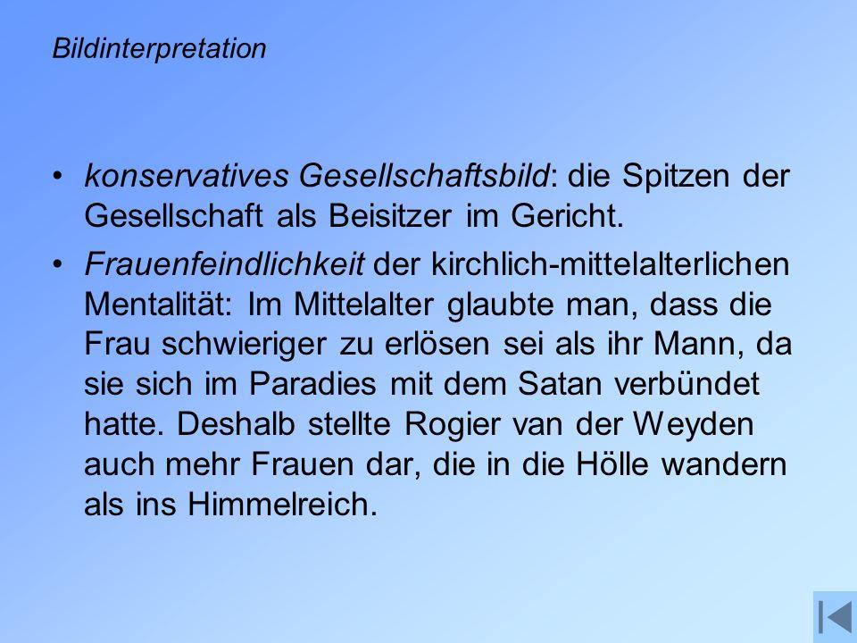 Bildinterpretation konservatives Gesellschaftsbild: die Spitzen der Gesellschaft als Beisitzer im Gericht.