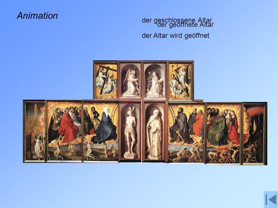 Animation der geschlossene Altar der Altar wird geöffnet der geöffnete Altar