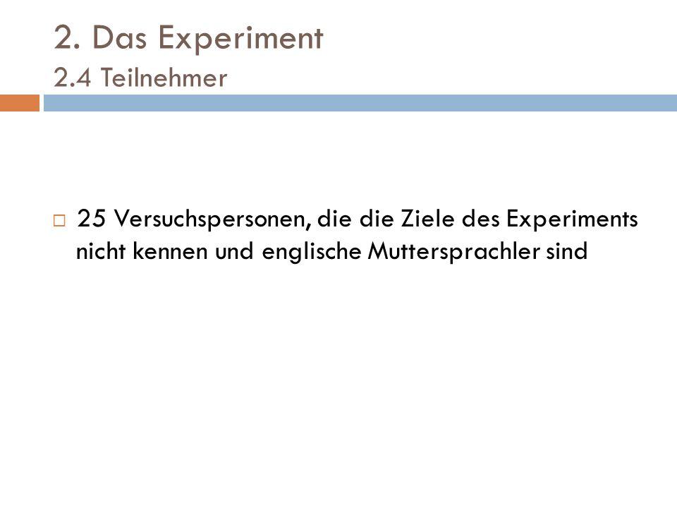2. Das Experiment 2.4 Teilnehmer 25 Versuchspersonen, die die Ziele des Experiments nicht kennen und englische Muttersprachler sind