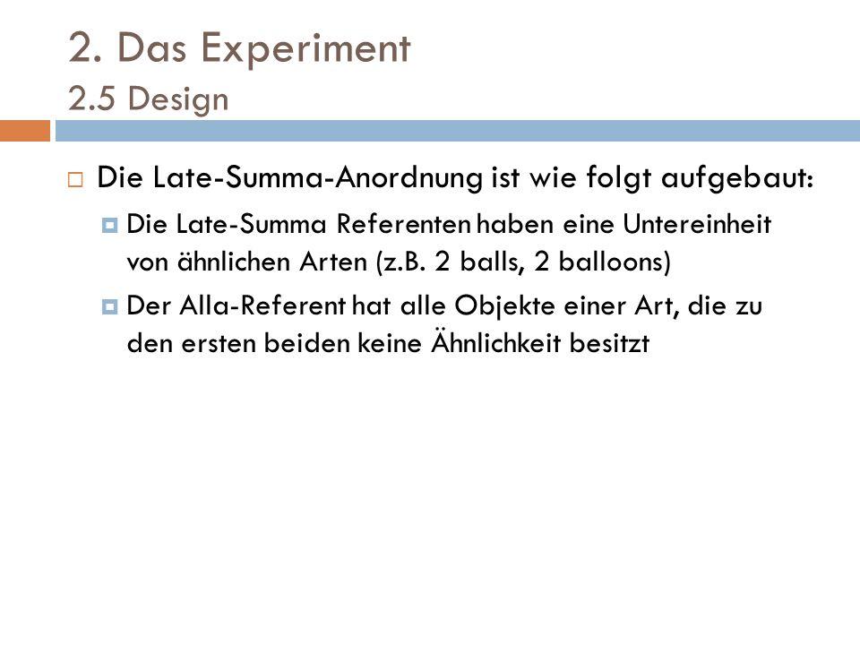 2. Das Experiment 2.5 Design Die Late-Summa-Anordnung ist wie folgt aufgebaut: Die Late-Summa Referenten haben eine Untereinheit von ähnlichen Arten (