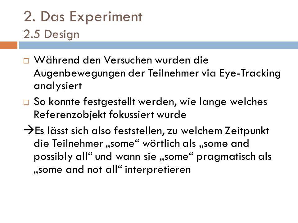 2. Das Experiment 2.5 Design Während den Versuchen wurden die Augenbewegungen der Teilnehmer via Eye-Tracking analysiert So konnte festgestellt werden