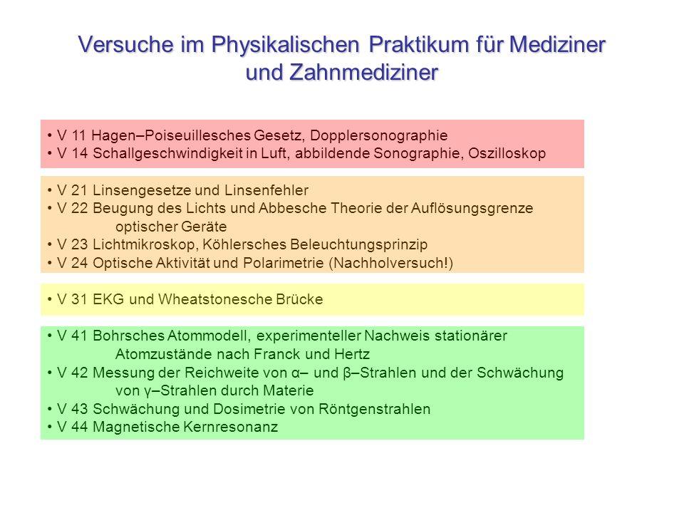 Versuche im Physikalischen Praktikum für Mediziner und Zahnmediziner V 11 Hagen–Poiseuillesches Gesetz, Dopplersonographie V 14 Schallgeschwindigkeit