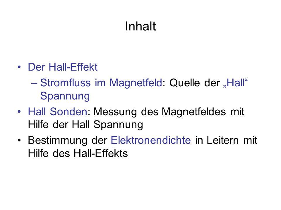 Inhalt Der Hall-Effekt –Stromfluss im Magnetfeld: Quelle der Hall Spannung Hall Sonden: Messung des Magnetfeldes mit Hilfe der Hall Spannung Bestimmun