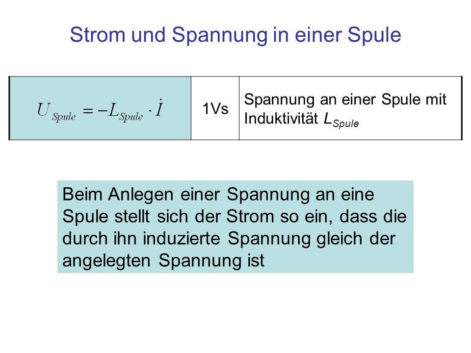 Strom und Spannung in einer Spule Beim Anlegen einer Spannung an eine Spule stellt sich der Strom so ein, dass die durch ihn induzierte Spannung gleich der angelegten Spannung ist 1Vs Spannung an einer Spule mit Induktivität L Spule