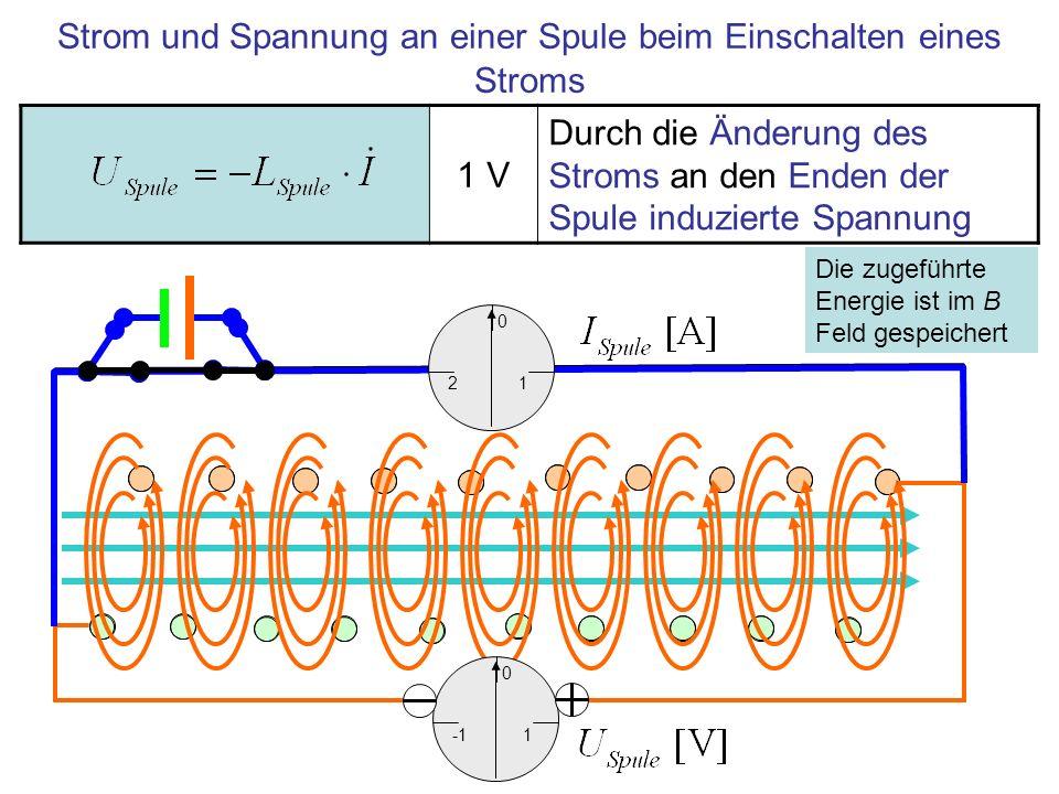 Strom und Spannung an einer Spule beim Einschalten eines Stroms 1 V Durch die Änderung des Stroms an den Enden der Spule induzierte Spannung 1 0 1 0 2 Die zugeführte Energie ist im B Feld gespeichert
