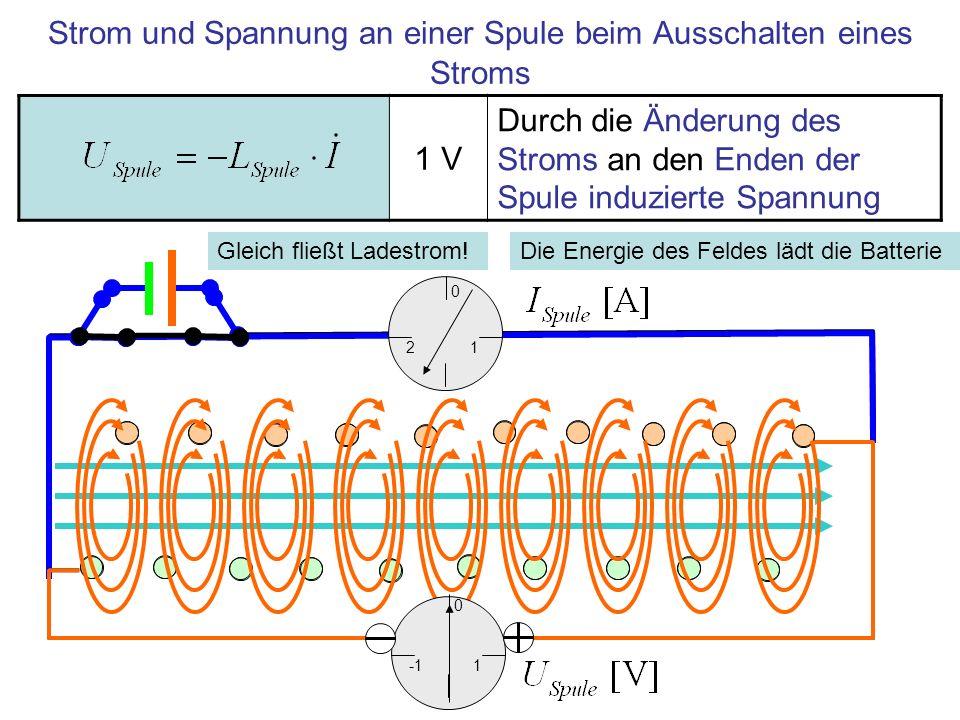 Strom und Spannung an einer Spule beim Ausschalten eines Stroms 1 V Durch die Änderung des Stroms an den Enden der Spule induzierte Spannung 1 0 2 1 0 Die Energie des Feldes lädt die BatterieGleich fließt Ladestrom!