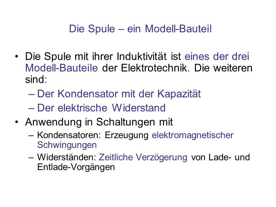 Die Spule – ein Modell-Bauteil Die Spule mit ihrer Induktivität ist eines der drei Modell-Bauteile der Elektrotechnik.