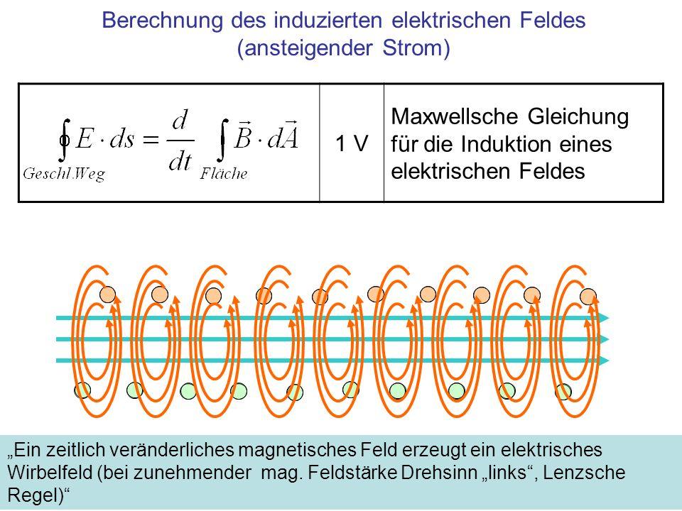 Berechnung des induzierten elektrischen Feldes (abnehmender Strom) Ein zeitlich veränderliches magnetisches Feld erzeugt ein elektrisches Wirbelfeld (bei abnehmender mag.