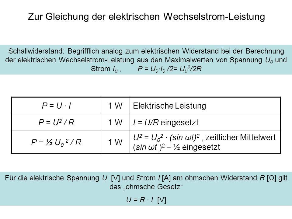Zur Gleichung der elektrischen Wechselstrom-Leistung Schallwiderstand: Begrifflich analog zum elektrischen Widerstand bei der Berechnung der elektrisc